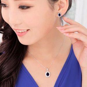 Blue Cubic Zirconia Earrings Necklace Set